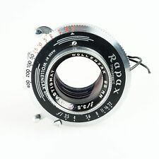 = Wollensak 85mm f3.5 Anastigmat Lens on Rapax Shutter for Graflex Large Format