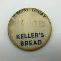 Original Vintage Keller's Bread Employee Badge Button Pin Pinback Advertising M6