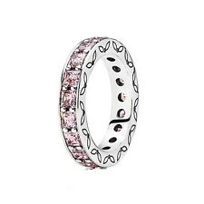 "AUTHENTIC PANDORA ""PINK CZ INFINITY"" .925 Sterling Silver Ring 52 - PN1"