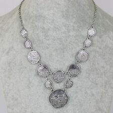 Lia sophia signed jewelry vintage silver plate cluster bid necklace square link