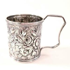 """Antique S Kirk & Son Small Coin Silver Mug """" Fred """" Floral Repousse 1880-90"""
