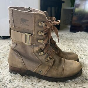Sorel WOMEN'S Leather Major Carly Combat Boots Size 7.5 Distressed