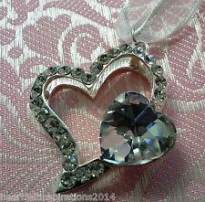 Wedding/Bridal Keepsake/Horseshoe - Silver Studded Diamante & Crystal Heart