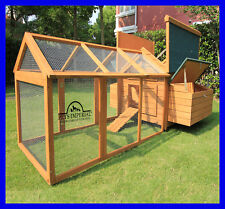 DOUBLE & RUN LARGE DELUXE CHICKEN COOP RABBIT HUTCH NEST HEN HOUSE