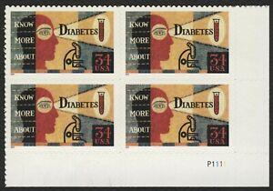 #3503 34c Diabetes, Plate Block [P1111 LR], Mint **ANY 5=FREE SHIPPING**