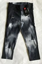 $55 NWT Womens Under Armour 1297934 UA Fly-By Printed Running Capris Black L