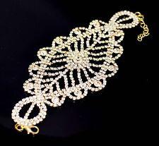 Gold Tone Crystal Bracelet Diamante Rhinestone Bangle Gem Bridal Wedding Design