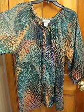 COMPANY ONE sz 1X Geo-Print Blouse Pretty Button-Down Top Multi-Color