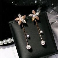 Fine Women Fashion Crystal Flower Pearl Earrings Ear Stud Dangle Earring Jewelry