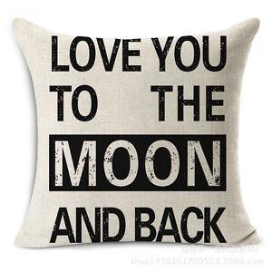 Letters Quote Words Pillowcase Cotton Linen Sofa Waist Cushion Cover Home Decor