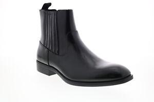 Calvin Klein Cliff Box Leather 34F0967-BLK Mens Black Slip On Chelsea Boots