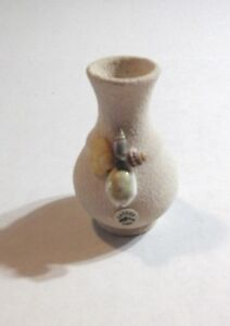 STUCCO BUD VASE Mini Clay Pot Flower Holder With Seashells And Orca CANCUN URN