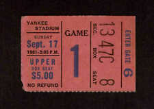 1961 NEW YORK GIANTS vs ST LOUIS  CARDINALS  Ticket Stub