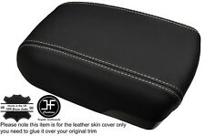 WHITE STITCH ARMREST LID GENUINE LEATHER COVER FITS HYUNDAI IX35 2010-2015