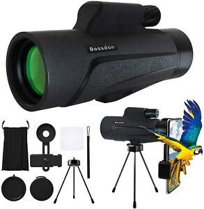 Bossdan 12×50 Monocular Telescope for Smartphone Holder-Portable Handheld Tripod