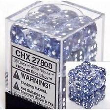 Chessex Dice (36) Block Sets 12mm D6 Nebula Black w/ White Pips CHX 27808