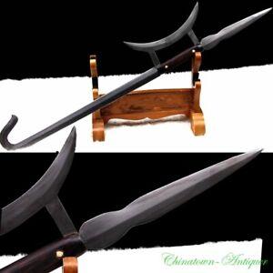Chinese Hook Sword Halberd Tiger Head Hook Pattern Steel Battle Ready Sword#3402