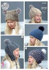 King Cole Girls Aran Chunky Knitting Pattern Childrens Winter Hats & Helmet 5100