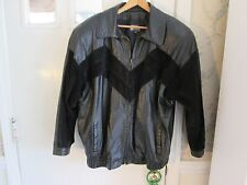 Vintage black leather and suede 2X 1980's Comint jacket Made in Argentina