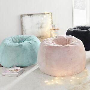 "Pottery Barn Teen Cozy Sherpa Indigo Bean Bag Slipcover NEW Large 41"" Pink"