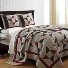 2pc American Pinwheel TWIN Set-Red,White & Blue Patchwork Quilt w/Sham Americana