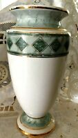 Vtg ITALY Maiolica Victorian VASE Amphora Roman marble green ceramic porcelain