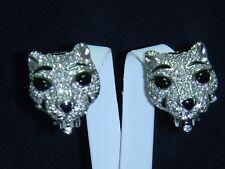 CINER Silver Tone Pave Rhinestone W Black Enamel & Onyx Eyes Tiger Cat Earrings