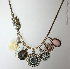 Country Floral Victorian Vintage Antique Rose Crystal Flower Charm Necklace