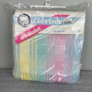 VTG NOS 1991 Gerber Pastel Plaid Acrylic Crib Blanket 50 x 36