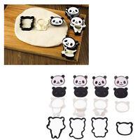 4pcs DIY Panda Shape Press Molding Plastic Cute Cake Decor Fondant Baking Mold