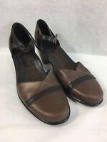 Dansko Dress Sandals Shoes Womens 9.5 EU 40 Brown Leather Ankle Strap Heels Clog