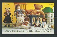 NEW ZEALAND 2000 BEARS AND DOLLS MINIATURE SHEET UNMOUNTED MINT, MNH