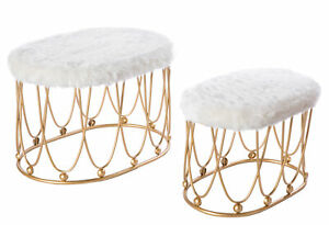 New Oval Shaped Wood and Gold Metal Stool with White Fur Top, Set of 2