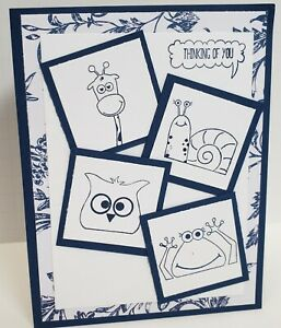 Handcrafted  Card - THINKING OF YOU - Animals: Giraffe, Snail, Owl, Frog, Pig