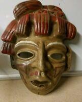 Vintage Folk Art Mayan Rare Clay Pottery Mask Mexican