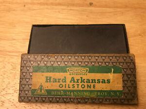 Vintage Norton Hard Arkansas Oilstone HB25 Hard Jewelers Stone with Original Car