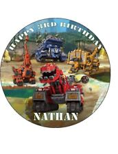 DINOTRUX 19cm Round PERSONALISED Edible Image ICING Sheet Cake Topper DINO TRUX
