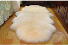 Double Pelt LARGE Ivory Sheepskin Rug Real Australia 6' x 2'Lambskin Rug Carpet