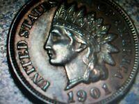 1901 Indian  head  penny  FULL LIBERTY 4 DIAMONDS