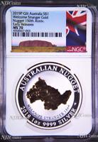 2019 Australia GILDED Silver Welcome Stranger gold nugget NGC MS70 1oz Coin gilt