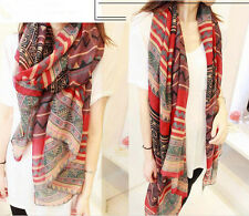 Lady Women's Fashion Long Big Soft Cotton Voile Shawl Wrap red Geometry Scarf Y7