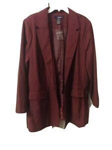 Denim 24/7 Women Plus Size Boyfriend Jacket Blazer Burgundy 20W