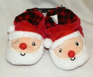 New Toddler size 2 Santa Slippers Christmas Boys Girls Red Soft Non-Skid Dots