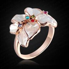 18k ROSE ORO PLACCATO ANELLO FIORE/Thumb Ring Con Zircone Strass Gioielli * Regno Unito *