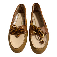 SPERRY Top Sider Loafer Boat Deck Flats Slip On Brown Tan Leather Womens 6M EUC
