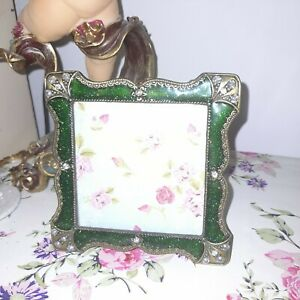 Vintage Art Deco Crystal Green Photo Frame