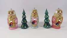 Hand Painted Wood Russian Nesting Doll and Christmas Tree Set of 5 Ornaments Jh