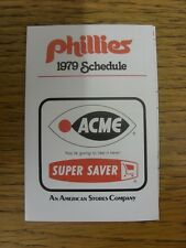1979 Fixture Card: Baseball - Philadelphia Phillies (Acme - fold out style). Any