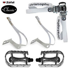 SET ZEFAL CHRISTOPHE WHITE LEATHER TOE CLIPS PEDALS PAIR BIKE VINTAGE CHROMED