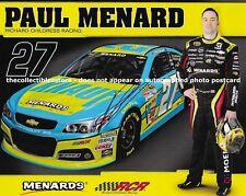 PAUL MENARDS AUTOGRAPHED 2015 KNAUF RACING RCR CHEVY NASCAR PHOTO POSTCARD